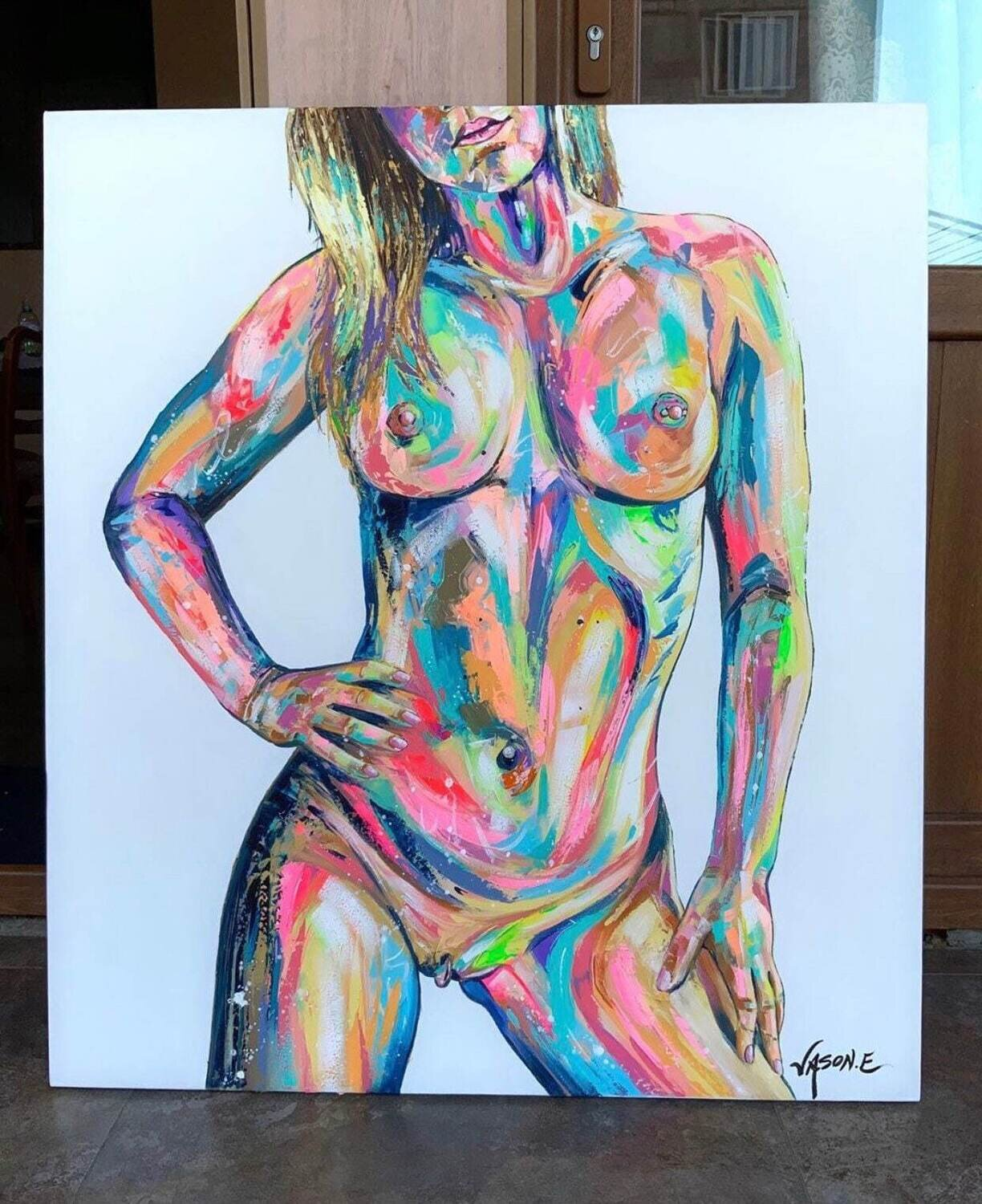 """NUDE FEMALE BODY Spontaneous Realism Oil Painting on Canvas. 31.5 x 35.5"""""""