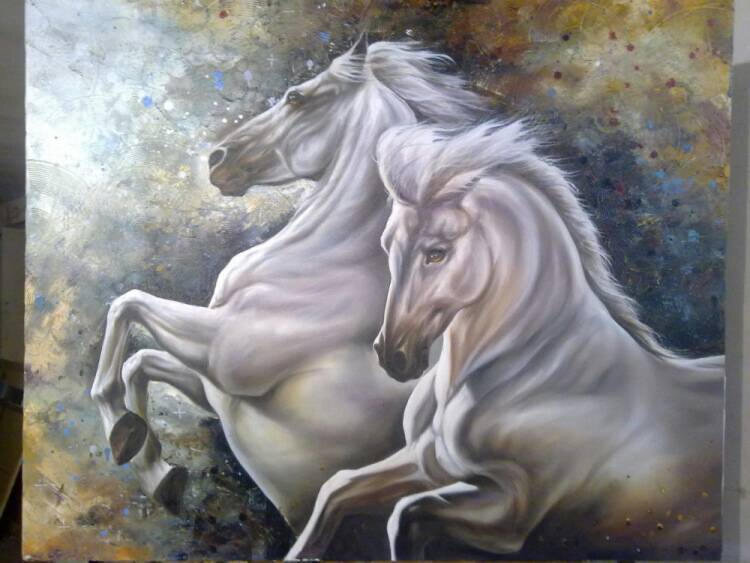 White horses WILD RUN Realism Oil Painting with a beautiful textured backdrop. Commissioned Art Custom Painting Made to Order