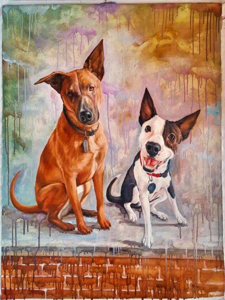 Spontaneous Realism Pet Dog Cat Oil Painting Commissioned Artwork Custom Order Companion mans best friend dog portraits cat portraits