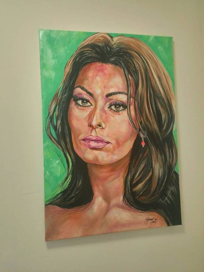 SOPHIA LOREN Oil Painting of Italian Actress and Star. Celebrity oil painting on canvas. Hand painted original. Highly detailed artwork.