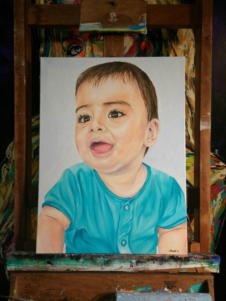 Baby CUSTOM Portrait Oil Painting Great Gift Idea Christmas Special Holiday Sale Prices for Hand Painted Original Portrait of your baby