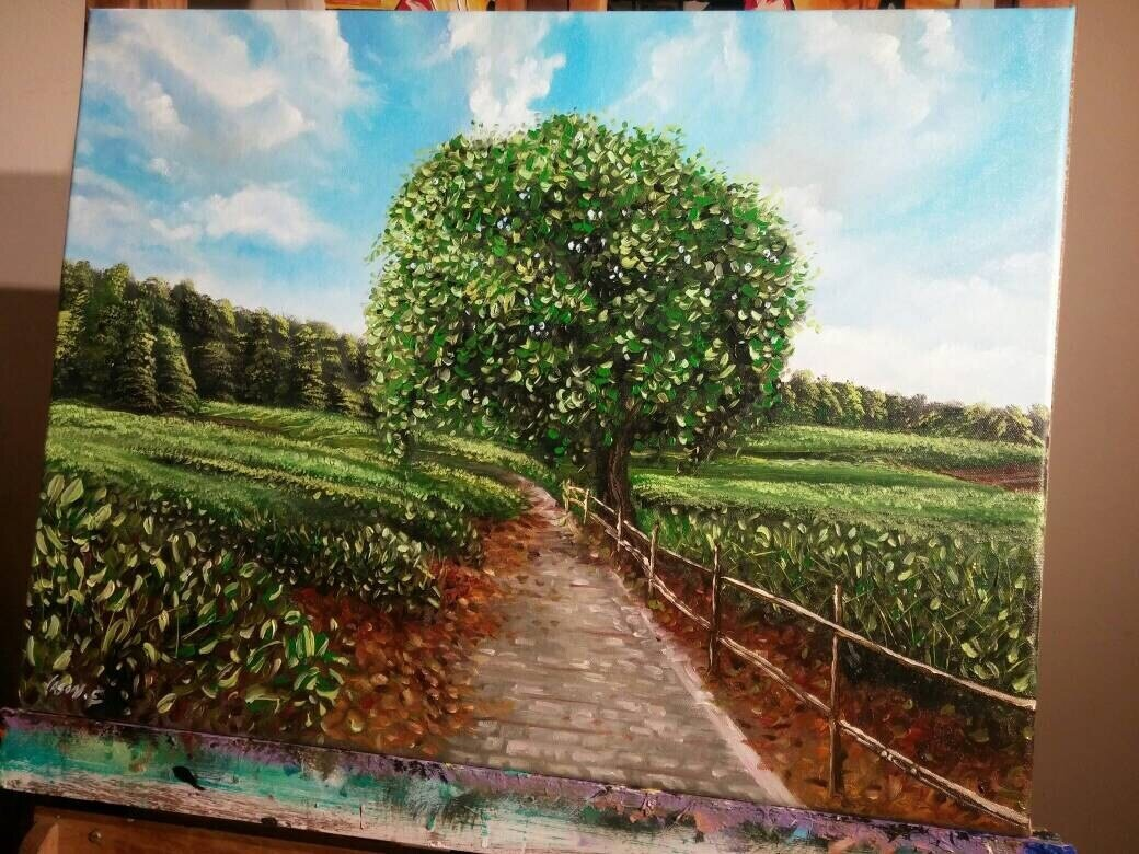 LOVELY Oil Painting Landscape ORIGINAL 24x18 inches Hand Painted on Canvas Wall Art Home Decor Ready to Hang