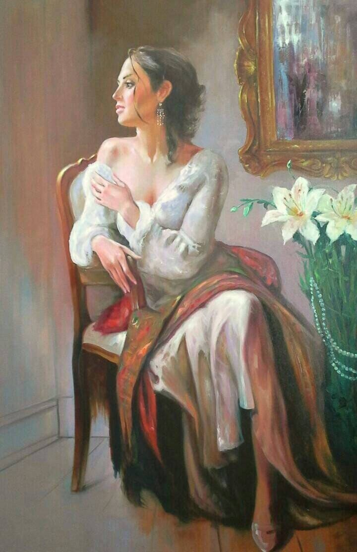 Longing Love Original Oil Painting on Canvas Woman Fine Art Waiting for husband to come home Romantic Painting Lovers Couples Art Custom Art