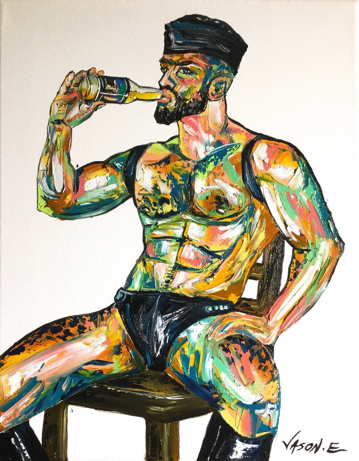 Gay Homosexual Modern LGBT Oil Painting on Canvas Kinkster Leather gay male drinking beer Abstract Art