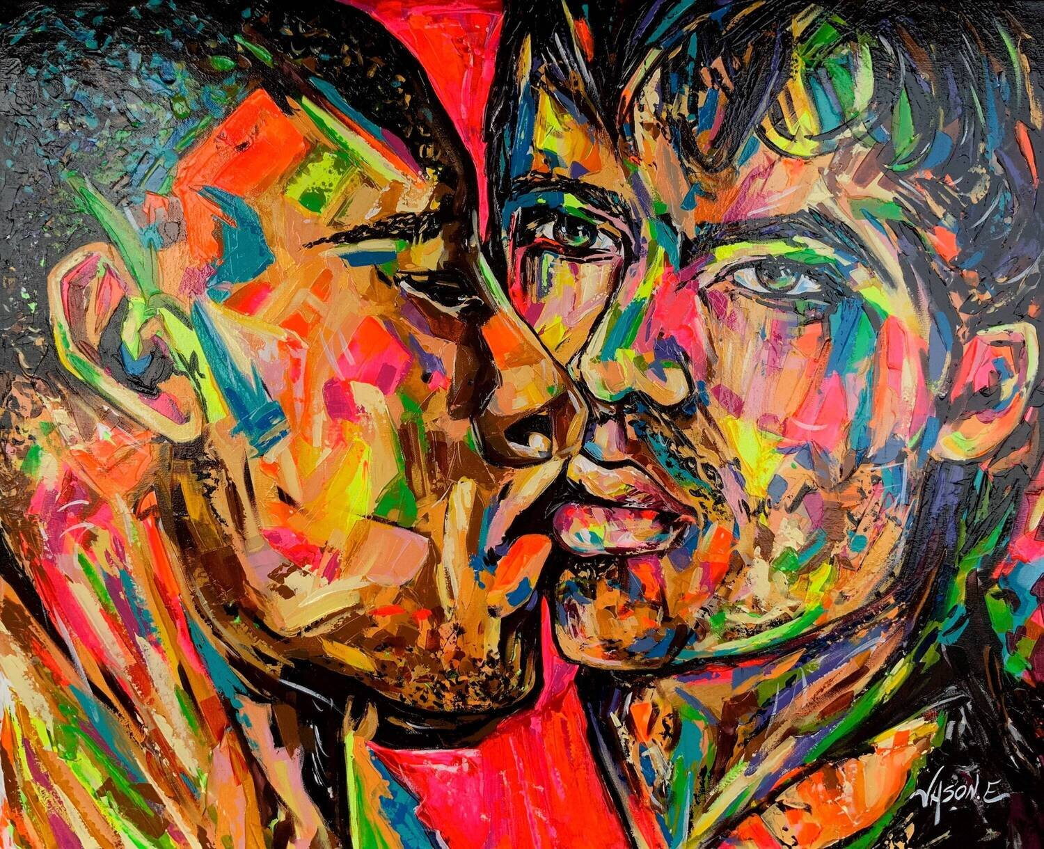 Gay Couple Modern Abstract Homosexual Painting on Canvas GAY Pride LGBTQ