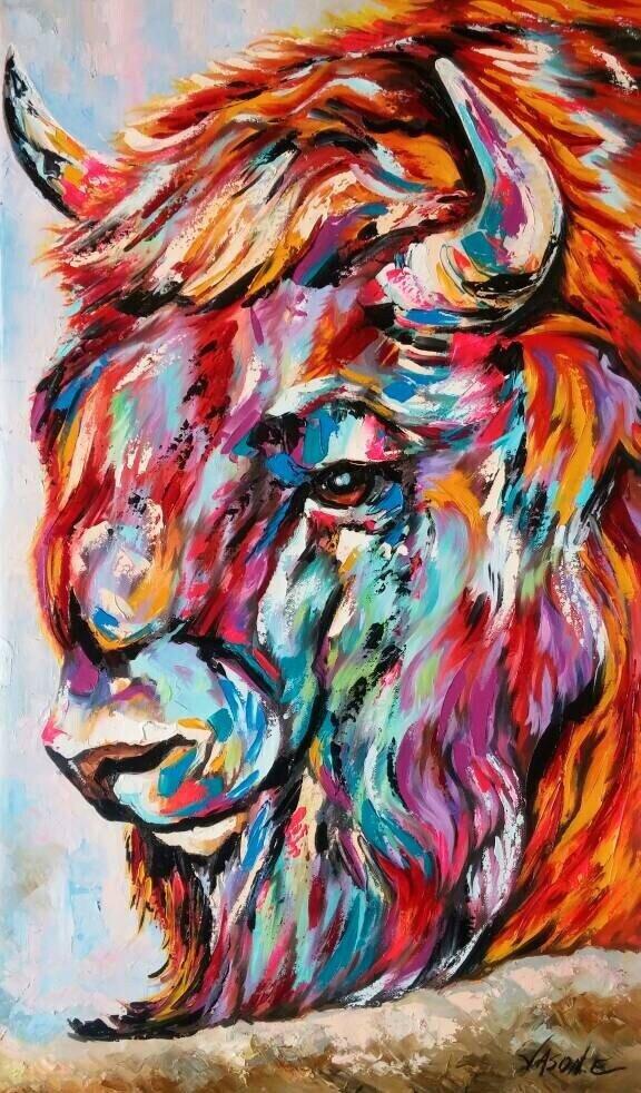 Zen Buffalo Spontaneous Realism Oil painting ABSTRACT MODERN ART