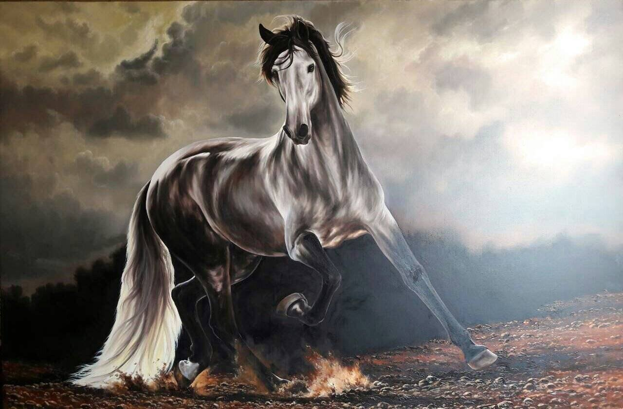 Gorgeous Horse Running in the Wild Detailed Oil Painting