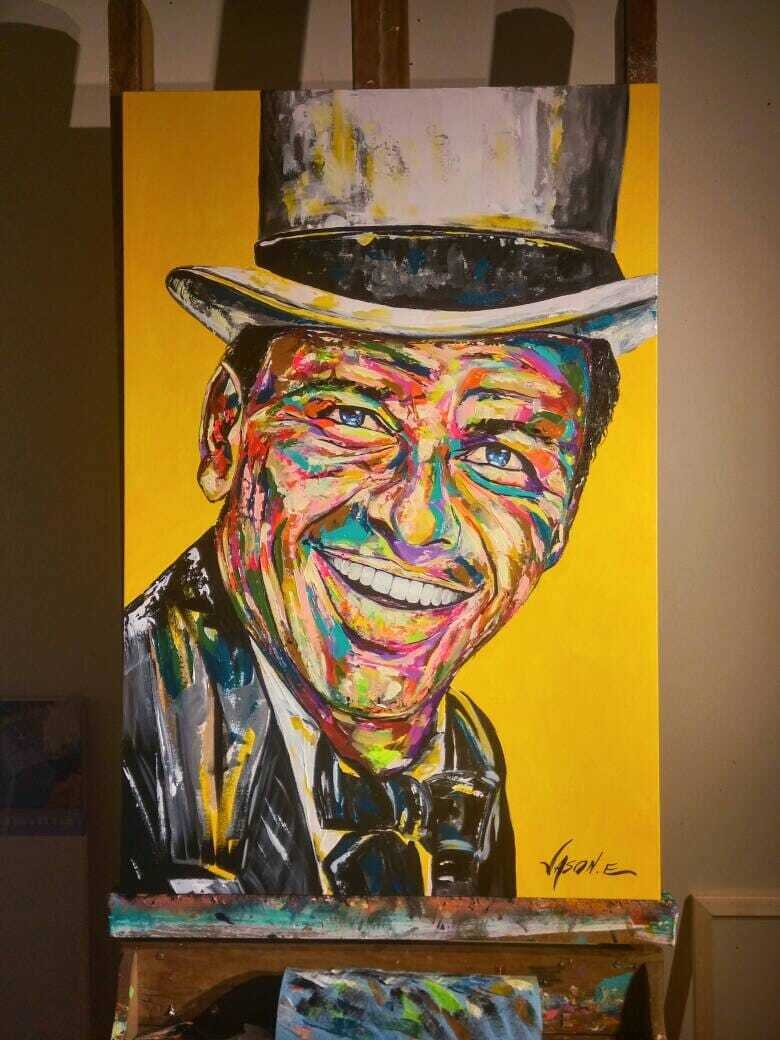 FRANK SINATRA Modern Abstract Spontaneous  Realism Painting on canvas