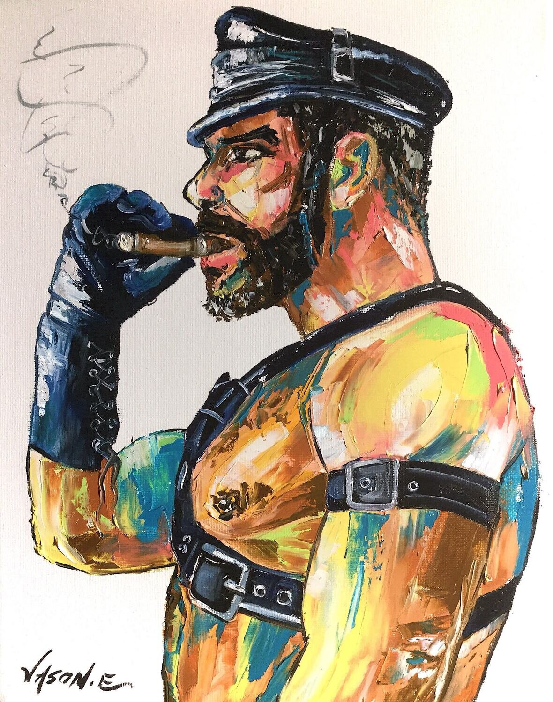 Gay Cigar Smoking Bear Homosexual LGBT Oil Painting Hand Painted Original Modern Gay Art