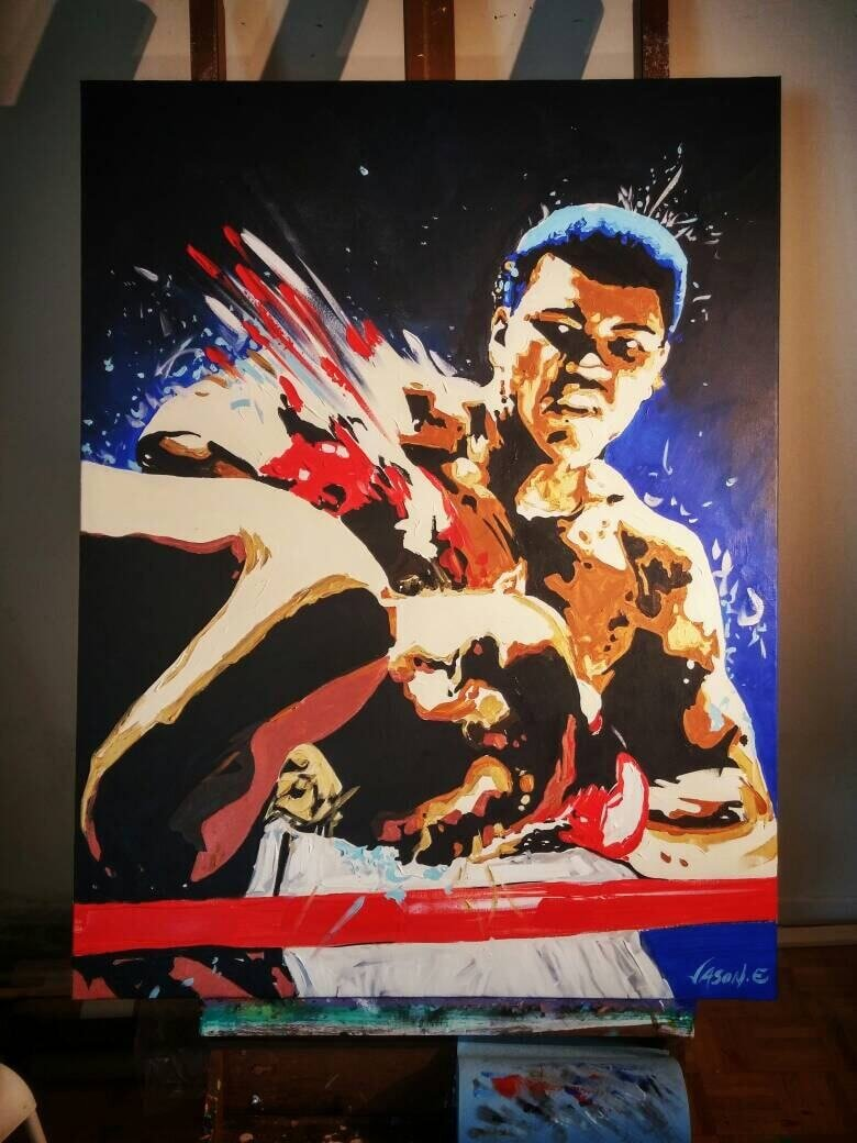 Muhammad Ali Oil Painting Original Wall Art Canvas Art Hand Painted Boxing Legend Home Decor