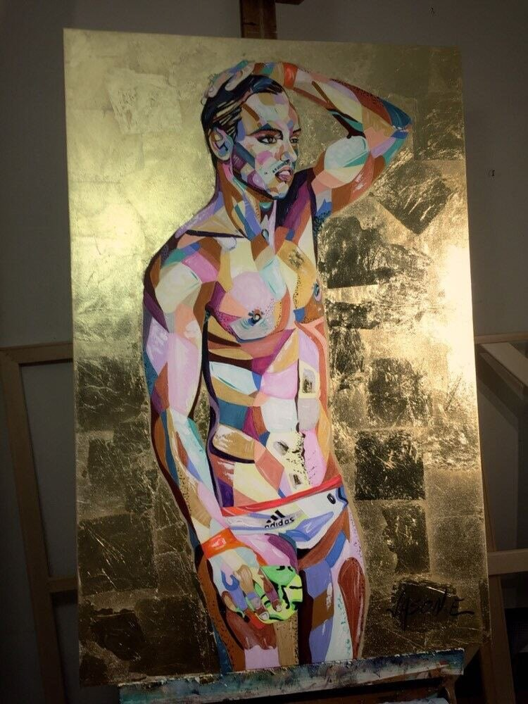 Olympic Gold Medalist Diver Tom Daley Oil Painting with Gold Leaf. LGBTQ Art. Gay Diver. Gay Painting. Fan Art.