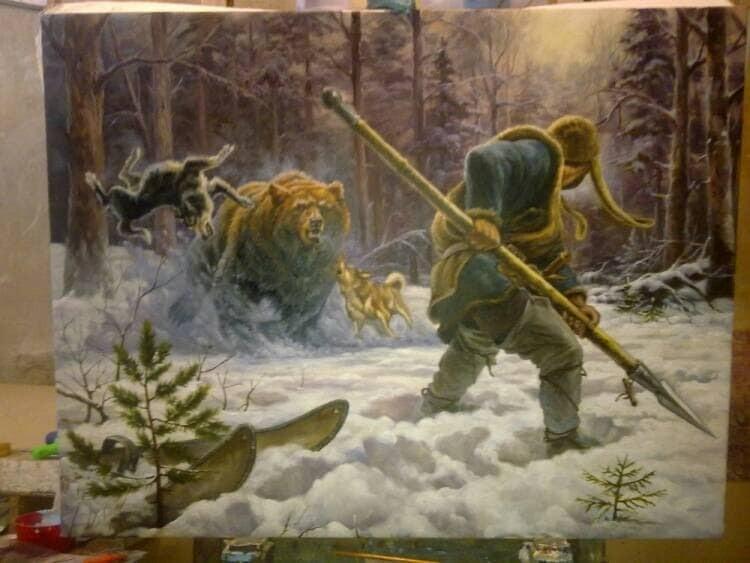 The Attack Oil Painting Original