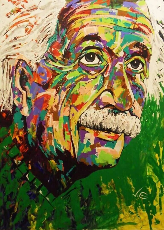 Albert Einstein Spontaneous Realism Modern Abstract Home & Office Original Painting on canvas Made to Order Commissioned Art