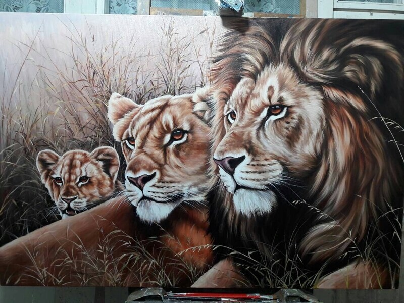 Lion Pride Oil Painting on canvas Large Wall Art