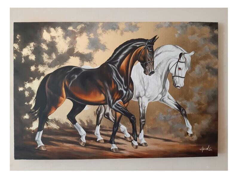 Horses in Harmony Oil Painting on canvas with Gold Leaf ORIGINAL artwork.