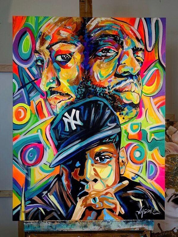 Tupac Shakur Notorious BIG Biggy Smalls Jay Z East side West side RAP Artist Hip Hop Music R&B Oil Painting Modern Wall Art