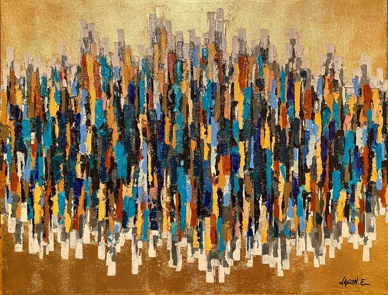 GOLD LEAF Abstract TEXTURED Modern Art. Oil on Canvas Painting with Gold Leaf backdrop