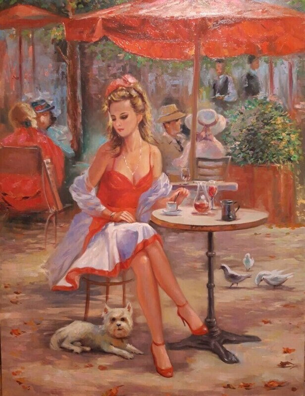 European Cafe Scene Oil Painting on Canvas ORIGINAL. A beautiful GIFT Idea.