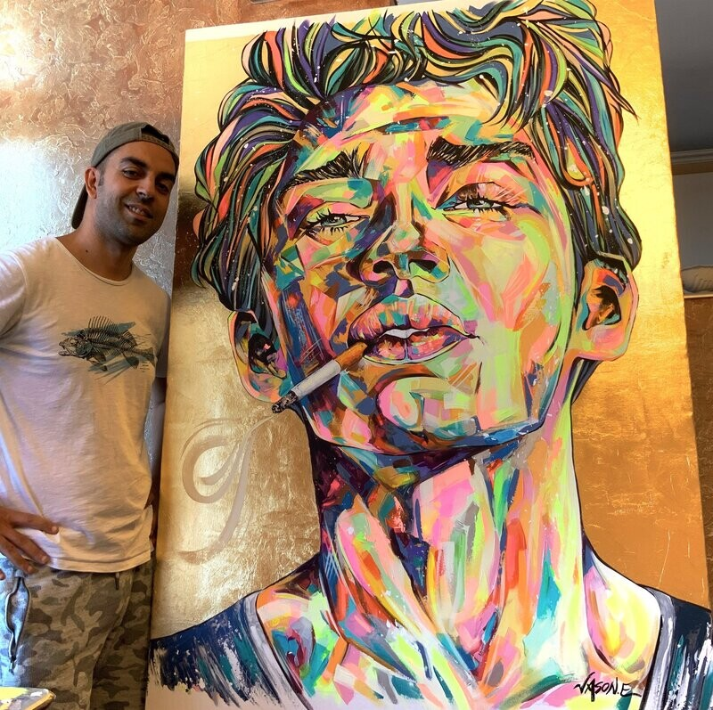 Gay Male Model Portrait Oil painting on Canvas with Gold Leaf. Gorgeous LGBTQ VILLAGE ART. Holiday Special price
