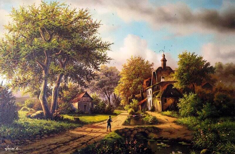 "Farmland Oil on Canvas Original Painting 47x32"" Large"