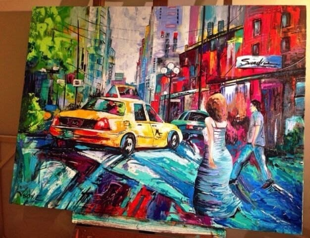 """NEW YORK CITY Oil on Canvas Made to Order Original Painting 48x36"""""""