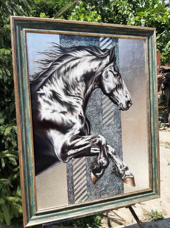 Horse Oil Painting on canvas. Stallion, Wild, Beautiful Painting for a beautiful home.