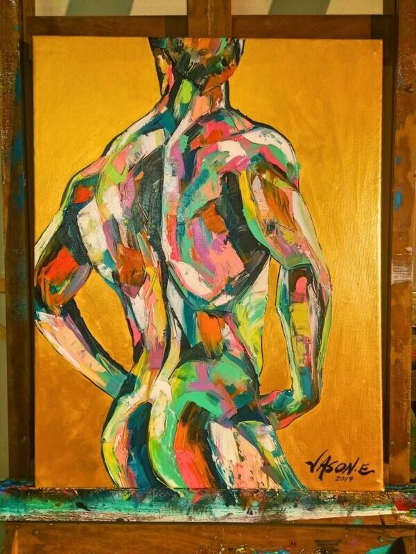 Gay Oil Painting Homoerotic Modern Homosexual Art Gay Pride Nude Male Muscular Physique Erotic Gay Art Abstract Bath time