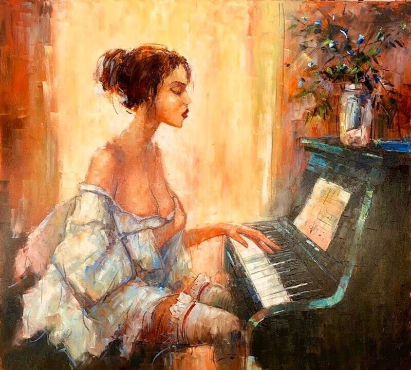 Piano Love Oil Painting on canvas ORIGINAL painting Lust, Seduction, lovely wall art