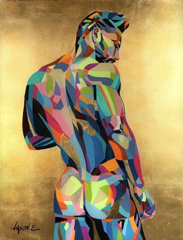 Nude Male GAY Homoerotic Oil Painting. ORIGINAL LGBT Wall Art Nude Boy Nude Man Nude Art Homosexual Gay Bear Shape Art