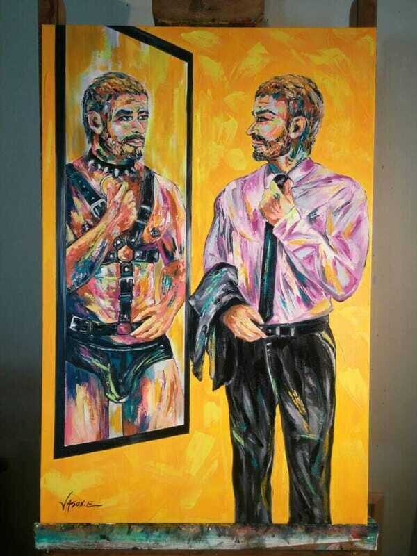 Gay Homosexual Double Identity CUSTOM LGBT Oil Painting All Sizes Can Be Custom Painted