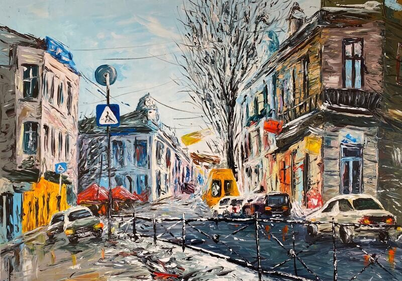 """Winter Sunday Spontaneous Oil Painting on Canvas 40x30"""""""