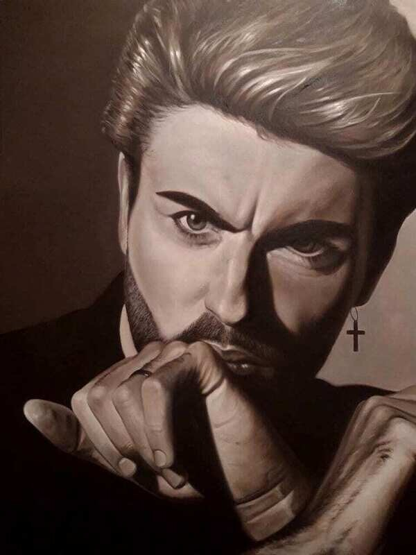 George Michael Hyper-Realism Original Oil Painting Commission Art Made to Order.