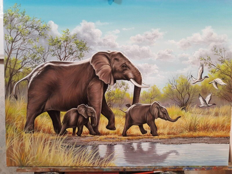 Elephants oil painting on canvas FAMILY PRIDE Made to order.
