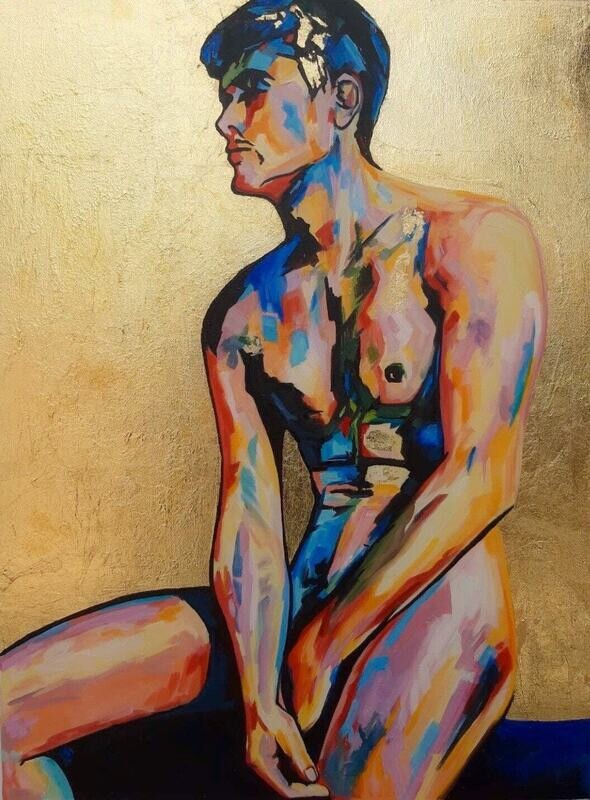 """Nude Male Homosexual Modern Custom Abstract 24x30"""" Oil Painting with GOLD LEAF background."""