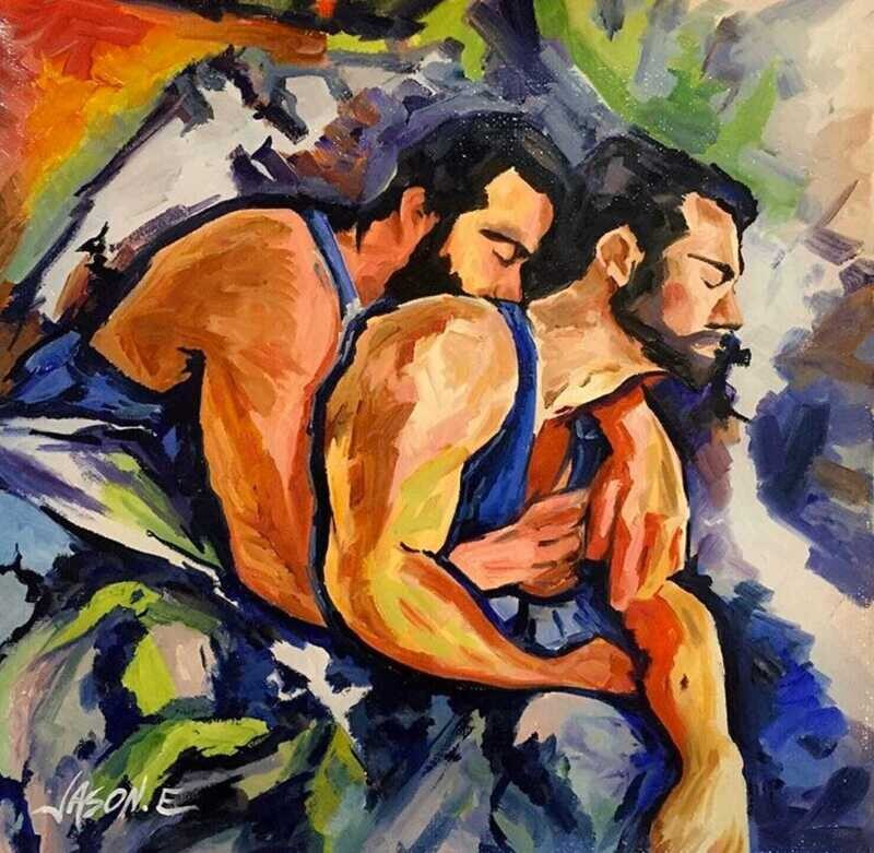 Gay Homosexual Couple Oil Painting Titled LOVERS' SIESTA