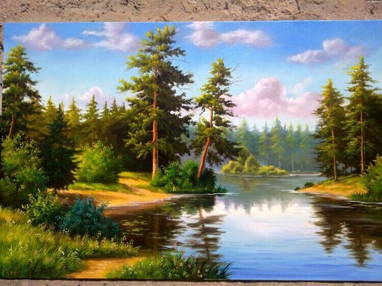Into the Calm Oil Painting on canvas original 2004 size 36x24 inches