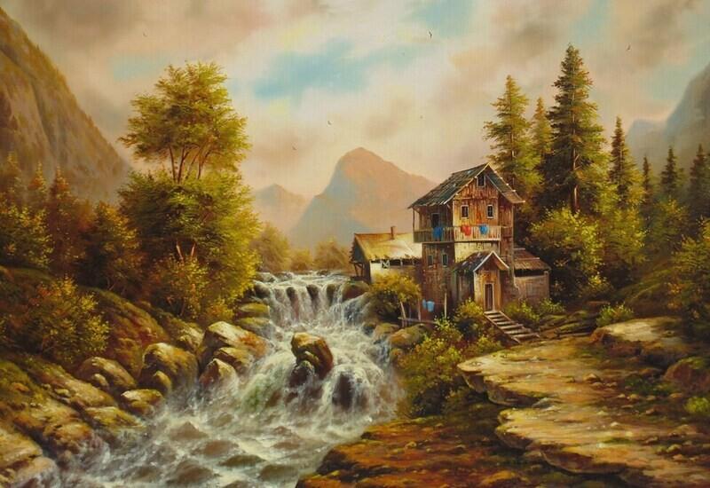 River Farm Oil Painting