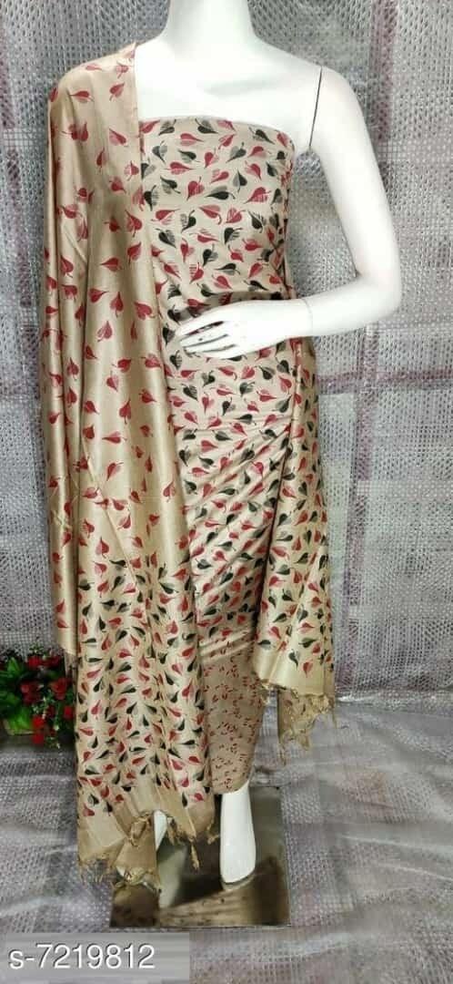 printed Tussar silk suit material