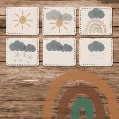 Klassenkalender Add-On Wetter  - Regenbogen Boho beige