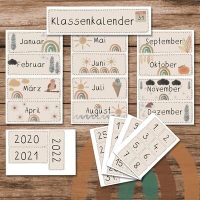 Klassenkalender Boho Regenbogen - beige