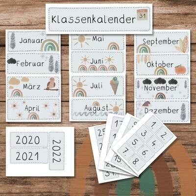 Klassenkalender Boho Regenbogen - blau