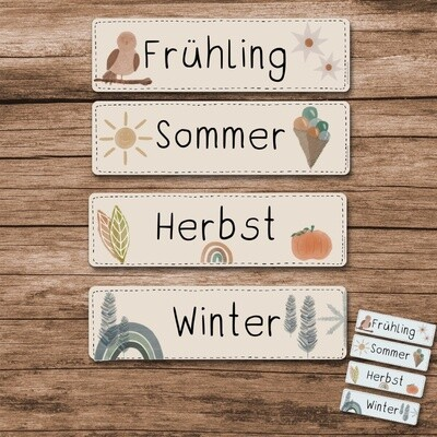 Klassenkalender Add-On Jahreszeiten  - Regenbogen Boho beige und blau