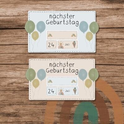 Geburtstags-Reminder Regenbogen Boho