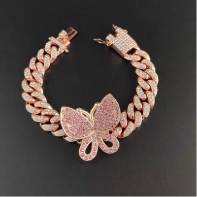 Pink Butterfly Cuban Link Bracelet