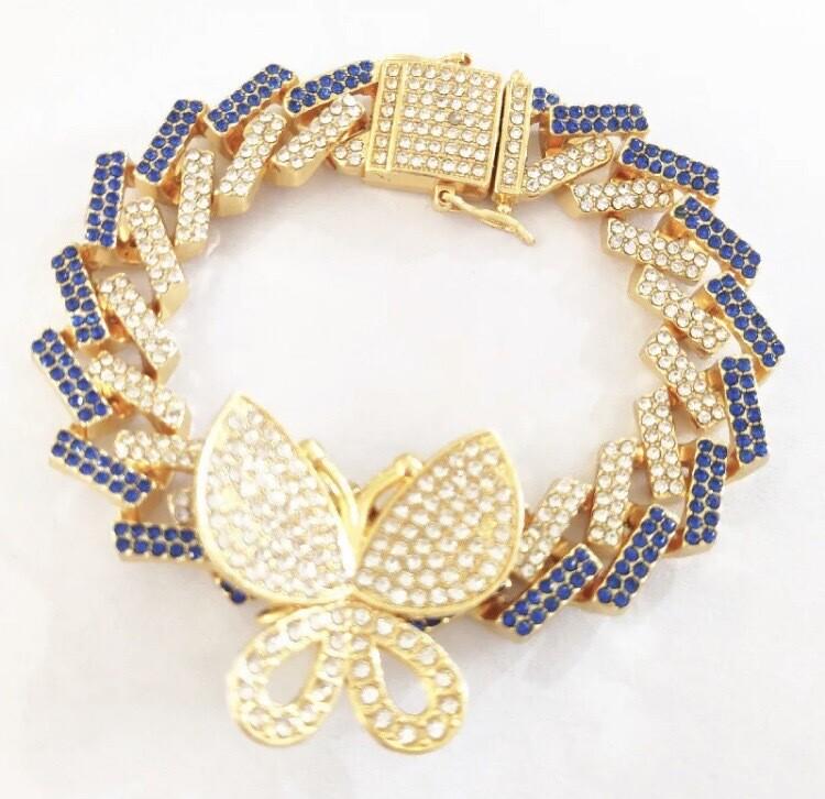 Cuban Link Rhinestone Butterfly Bracelet