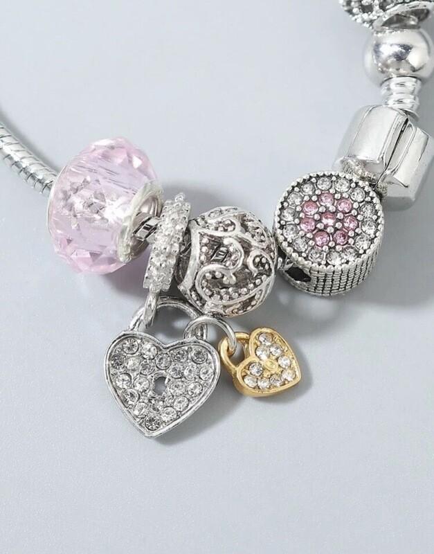 Pandora Inspired Heart Charm Bracelet