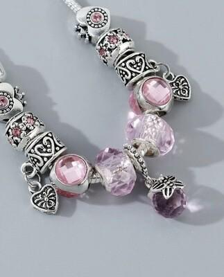 Pandora Inspired Heart Beaded Bracelet
