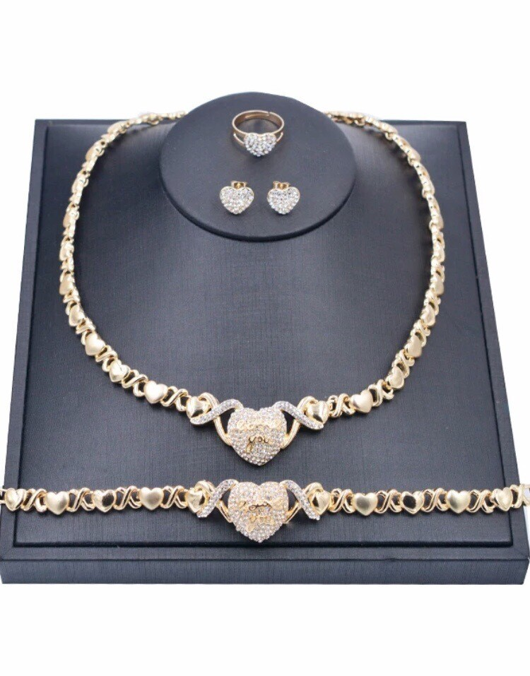 Bursting Hearts 18k Real Gold Plated Set