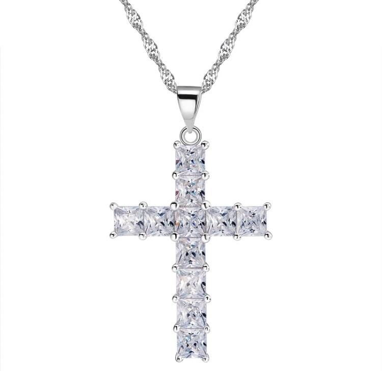Crucifix Bling Baguette Necklace