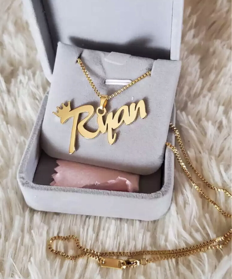 Personalized Crown Nameplate Necklace